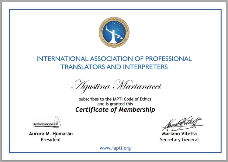 IAPTI Certificate of Membership