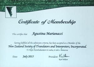 Agustina Marianacci: NZSTI Certificate of Membership