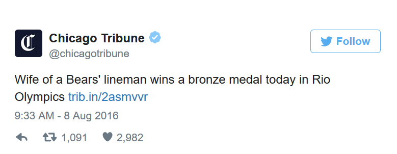 Chicago Tribune's sexist tweet-Rio Olympics