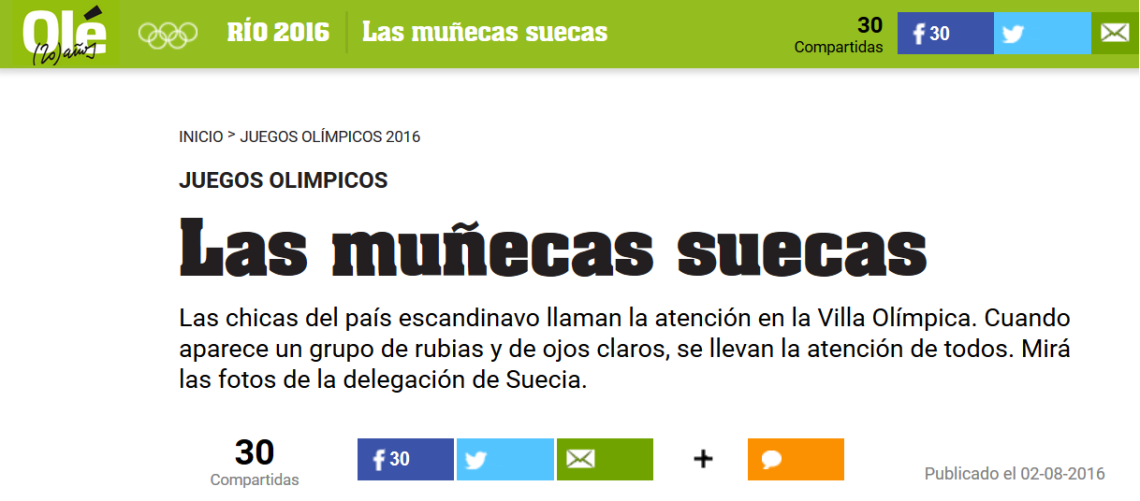Olé's sexist article-Rio Olympics