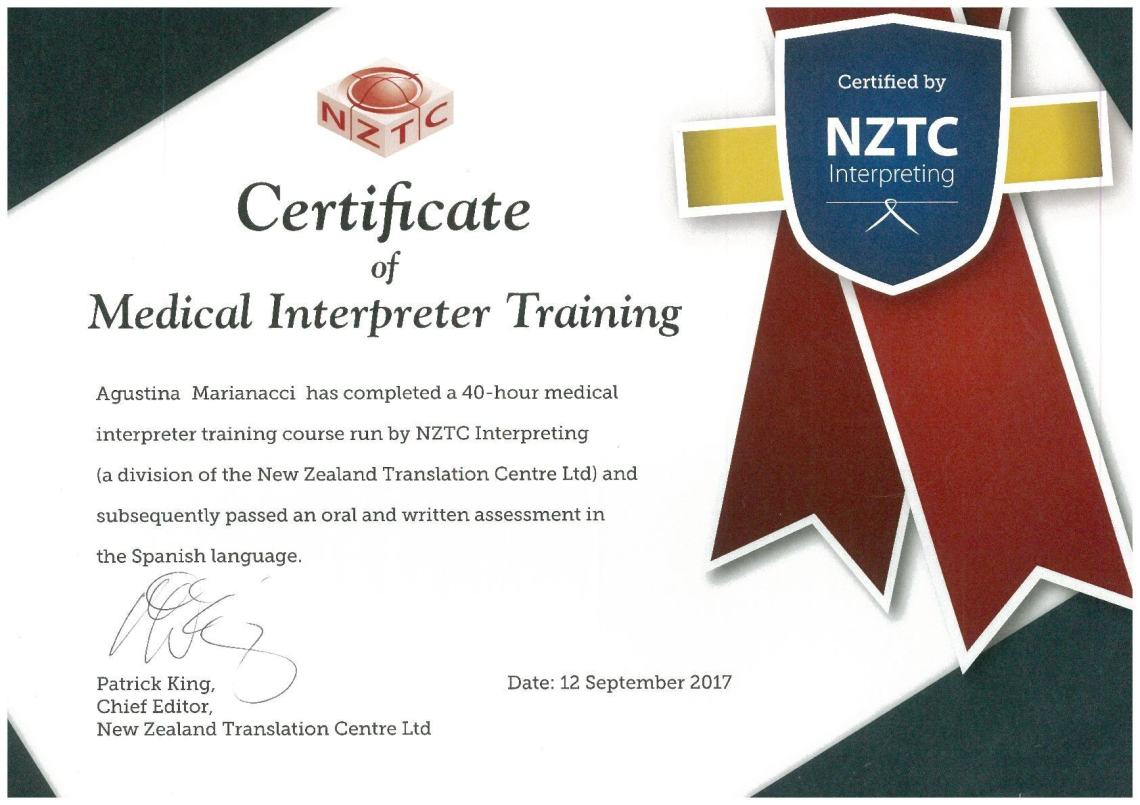 Certificate of Medical Interpreter Training